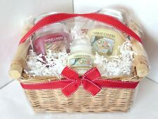 YANKEE CANDLE Holiday GIFT SET Basket 3 Jars Sparkling Cinnamon Christmas Cookie