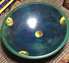 "Wood Bowl Vintage Folk Art 9.5"" Granny Smith Apple Decoupage signed Sugar Jones"
