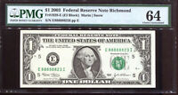 2003 $1 Federal Reserve Note with Fancy NEAR SOLID Serial #E88888823I PMG 64