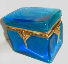 Antique Blue Glass Box  Exceptional bronze mounts