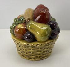 Vintage Hand Painted Fruit Basket Ceramic Covered Dish 8� Diameter