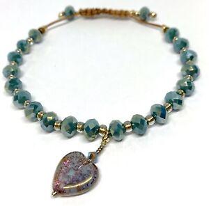 Sale Love Heart Bracelet Teal With Heart Bead Pendant Brown Leather Bracelet