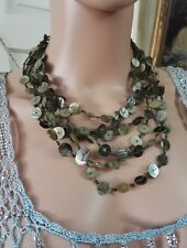 Vintage Handmade Abalone Shell Mother Pearl Green Multi Strand Mermaid Necklace