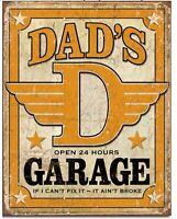Dad's Garage Metal Sign Auto Repair Shop Mechanic Gas Oil Picture Decor Gift
