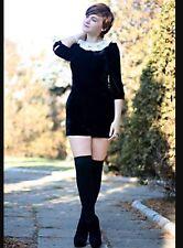 Topshop Navy Velvet Crochet Lace Peter Pan Collar Vtg Celeb Dolly Playsuit 10 S