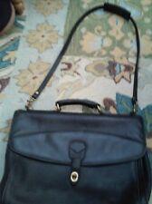 Vintage Rafael Black Leather Briefcase Laptop Bag Messenger