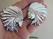 JEEP CHEROKEE PAIR INDIAN CHIEF CAR EMBLEMS *New* Chrome Metal Badge