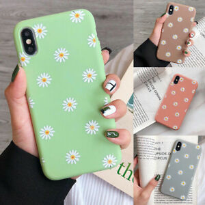 For iPhone XS Max XR 8 7 6 Plus Shockproof Soft TPU Daisy Matte Back Case Cover
