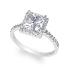 Cz Beautiful Halo Ring Size 5-9 JamesJenny Ladies 10K White Gold 1.75ct Square