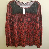 Dressbarn Established 1962 Womens Black Red Lace Paisley Boho Floral Top Size XL