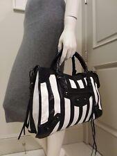 Stunning black white striped 100% real leather handbag bag purse