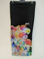 Asos Women's Dress Size 10 Strapless Black Abstract Floral Pattern Midi