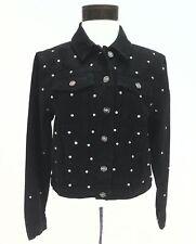 BEBE Jacket Black Denim Crystal EMBELLISHED Sparkle Fashion Trucker Sz S $159