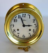 """Wuersch Heavy Brass Ships Bell Clock 6-1/2"""" diameter"""