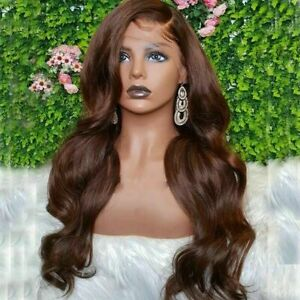 Luxury Lace Front Wavy Chocolate Medium Brown Full Lace Human Hair Wig Color 4
