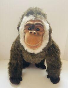 "11"" GORILLA Brown Furry Plush Stuffed Animal REALISTIC Jungle Monkey Ape Toy"