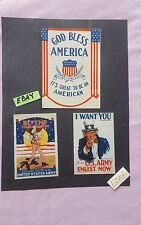 WW II WPA War Propaganda God Bless America Windshield Sticker 3 Lot