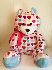 """Animal Alley Plush Teddy Bear White Valentines Red Blue Hearts Stuffed Large 30"""""""