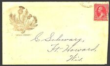 sc# 220 on an Ad(Society)cover from De Pere,WI to Ft.Howard,WI. ca.1892 w/inser
