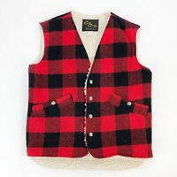 VTG 70s Cal Craft Red Black Buffalo Plaid Vest Sherpa Lined Snap Front Size S