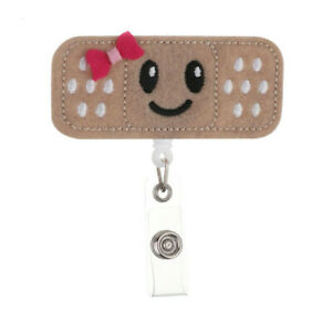 RN Embroidery Bandage Nurse ID Badge Retractable Reel with Alligator clip Large