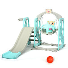 Indoor Outdoor 4 in 1 Kids Toddler Climber Slide Play Swing Set Playground