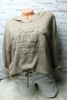 Italy Hoodie Pullover Vintage Gr. 36 38 40 Sweat Shirt 3 D Print Taupe