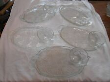 5 sets vintage glass patio snack sets embossed grapes and vines