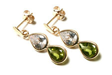 9ct Gold Peridot and CZ Teardrop Earrings Made in UK Gift Boxed