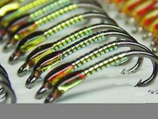 3 X Olive and mirage buzzers traffic light cheeks size 10 trout fishing buzzers