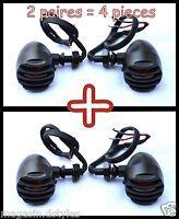 4pcs / 2 Paire Clignotants en Métal avec grilles Bullet Noir moto custom bobber