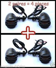 4pcs / 2 Paire Clignotants en Métal avec grilles Couleur Noir moto custom bobber