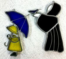 Two Tiffany???  Stained Glass Monk With Bird Boy With Umbrella Sun Catcher