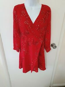 MADEWELL Hazelwood Wrap-Front Mini Dress in Windswept Floral SIZE 2US