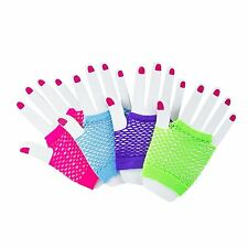 12 Assorted Fingerless Diva Fishnet Wrist Gloves Green Purple Neon Pink Blue 80s