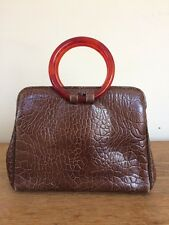 Vintage 1950s 1960s Small Box Brown 'Alligator' Leather Purse Ronay Wrist Clutch