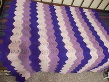 Purple, Laverder & Pink Crocheted Afgan  60 X 56 in.  Homemade