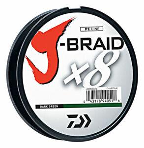 Daiwa J-Braid X8 300m Braided Fishing Line - Dark Green - All Breaking Strains!