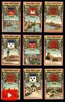 French Art Nouveau Chocolate Guerin-Boutron trade cards c.1900 lot x18 views