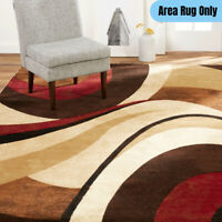 5 x 7 ft. Abstract Indoor Area Rug Modern Accent Design Swirly Pattern Brown/Red