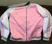 GIRLS JUSTICE WINDBREAKER HOODIE HOODED JACKET SIZE 14/16 PINK WITH WHITE & GRAY