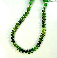 "Shaded chrome green TOURMALINE faceted pear beads AA+ 4.5-6mm 8"" strand"