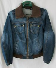 Torrid  Women's Jeans Jacket Size 2 Full Zip 4 Pockets Knit Collar and Bottom