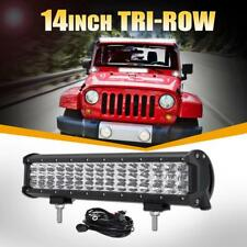 "14"" 450W TRI ROW CREE LED LIGHT BAR COMBO DIRING OFFORAD BOAT TRUCK ATV 4WD 15"""