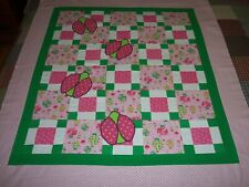 """Lady Bugs Flannel Applique Lap Toddler Baby Wall Quilt Top 43"""" X 48.5"""""""