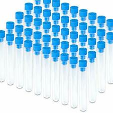 50 Pack Clear Plastic Test Tubes with Blue Caps, 16×100mm, Good Seal