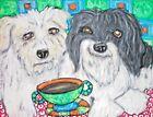 Havanese drinking Coffee 11x14 Dog Art Giclee Print Signed by Artist KSams