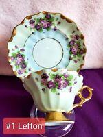 Lefton Footed.  Fine Bone China Teacup And Saucer Set - Vintage