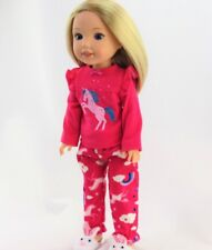 """Doll Clothes AG 14 1/2"""" Pajamas Unicorn Pink Fit 14 1/2 Inch American Girl Dolls"""