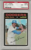 SET BREAK -1971 TOPPS #585 WILLIE DAVIS, PSA 8 NM-MT, LOS ANGELES DODGERS, TOUGH
